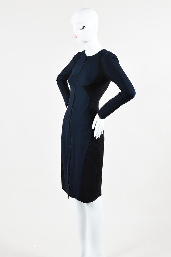 Cushnie et Ochs Black and Navy Stretch Zip Front Long Sleeve Dress Sideview