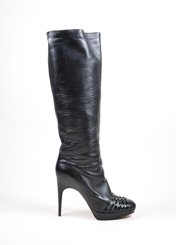 Black Christian Dior Patent Strappy Detail Tall Stiletto Boots Sideview