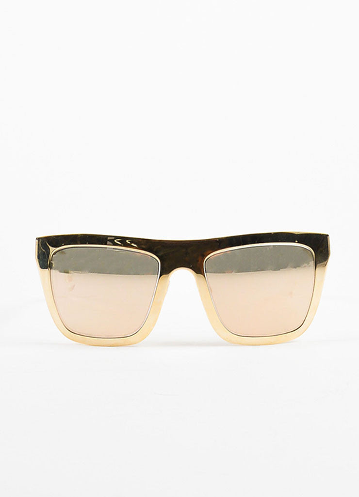Dolce & Gabbana Limited Edition 18K Gold Plated Mirrored Square Sunglasses Frontview