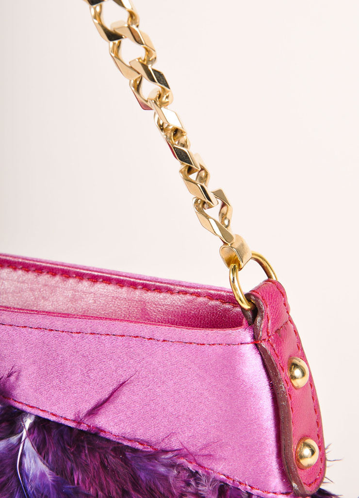 Dolce & Gabbana Purple and Gold Toned Feather and Satin Chain Strap 2 Way Clutch Bag Detail 2