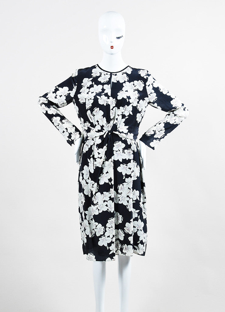 "Navy and White Erdem Silk Crepe Orchid Print ""Eden"" Long Sleeve Dress Frontview"