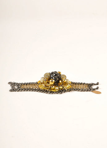 Falconiere New Black and Gold Toned Rhinestone Mesh Flower Bomb Bracelet Sideview