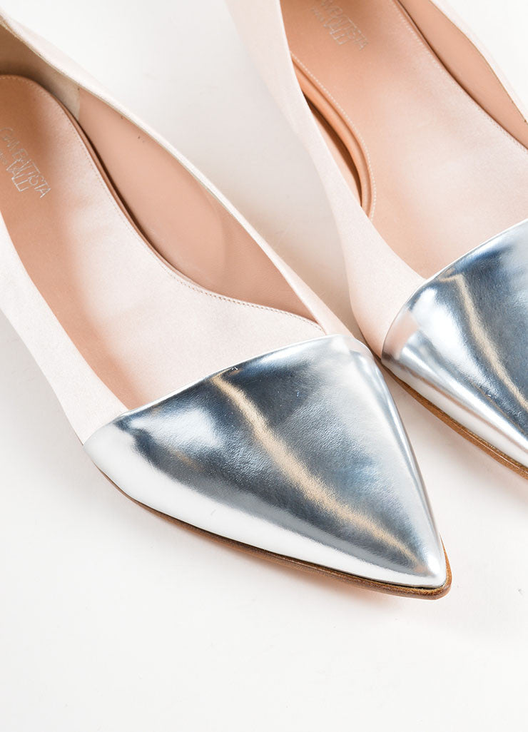 Giambattista Valli Beige Satin and Silver Pointed Cap Toe Flats Detail