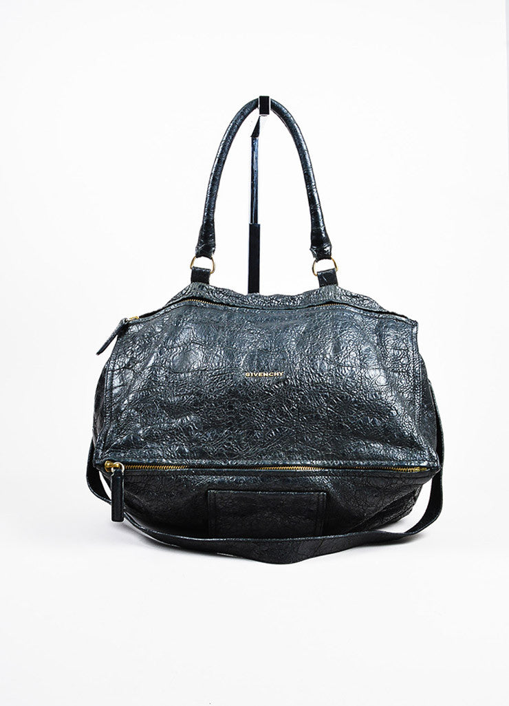 "Givenchy Black Crackled Leather ""Large Pandora"" Bag Frontview"