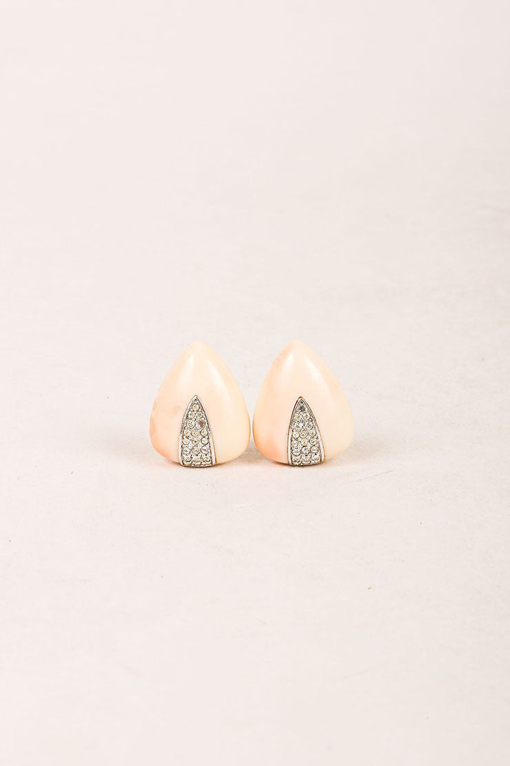 Givenchy Coral and Silver Toned Acrylic Rhinestone Triangle Earrings Frontview
