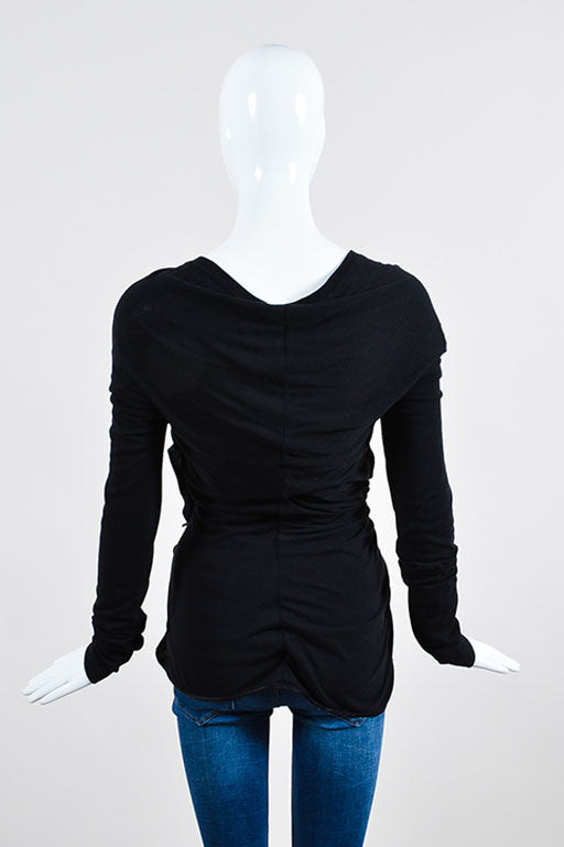 Black Givenchy Jersey Silk Ruched Cascade Ruffle Long Sleeve Shirt Backview