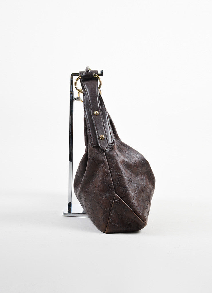 "Brown Gucci ""Guccissima"" Mogogram Leather Medium Horsebit Hobo Bag Side"