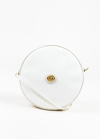 "Gucci White Canvas 'GG' Leather Round ""Canteen"" Crossbody Bag Front"