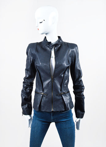 "Navy Haider Ackermann Leather Zipper Tailored ""Athena"" Jacket Frontview"