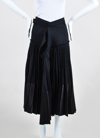 Haider Ackermann Black Wool Pleated Wrap Midi Skirt Frontview