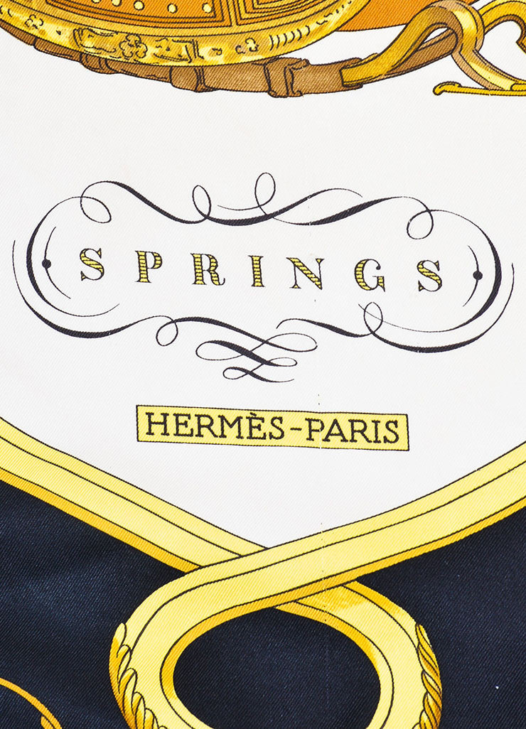 "Black, Gold and White Hermes Silk ""Springs"" Carriage Print 90cm Scarf Brand"