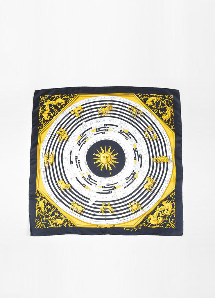 "Black, White, and Gold Hermes ""Astrologie Dies Et Hore"" Zodiac Silk Square Scarf Frontview 2"