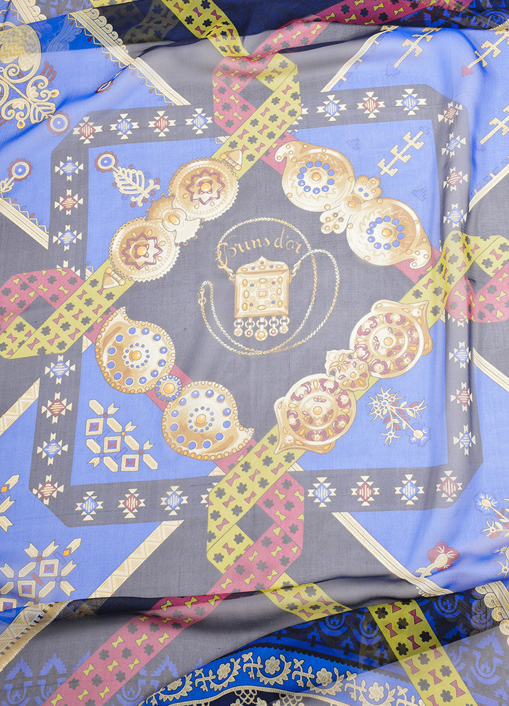 "Hermes Blue and Multicolor Silk ""Brins d'Or"" Geometric Print 140cm Sheer Scarf Detail 2"