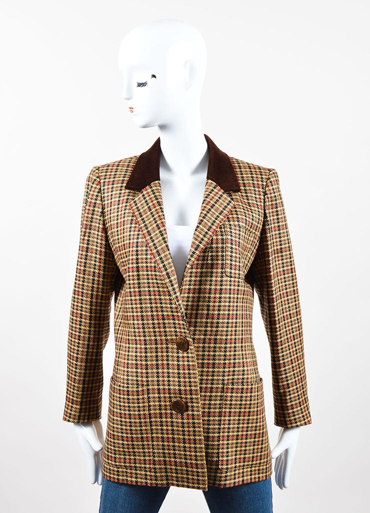 Brown, Black, and Red Hermes Wool and Silk Houndstooth Plaid Blazer Frontview