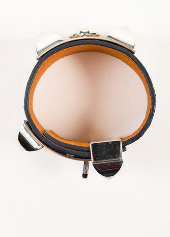 "Brown and Silver Toned Hermes Alligator Leather ""Collier de Chien"" Cuff Bracelet Topview"