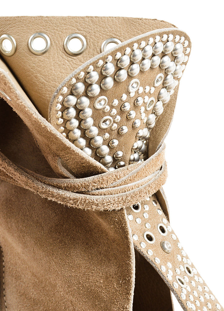 Isabel Marant Grey Suede Leather Studded Moccasin Ankle Heels Detail 2