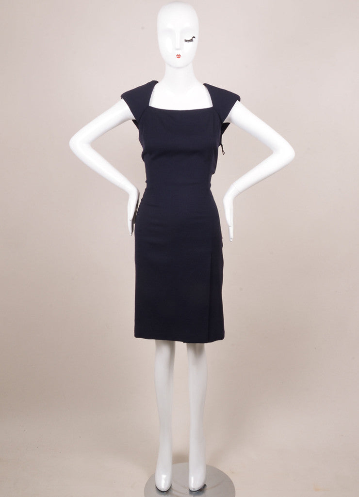 J. Mendel Navy Wool and Sheer Silk Chiffon Sleeveless Dress Frontview