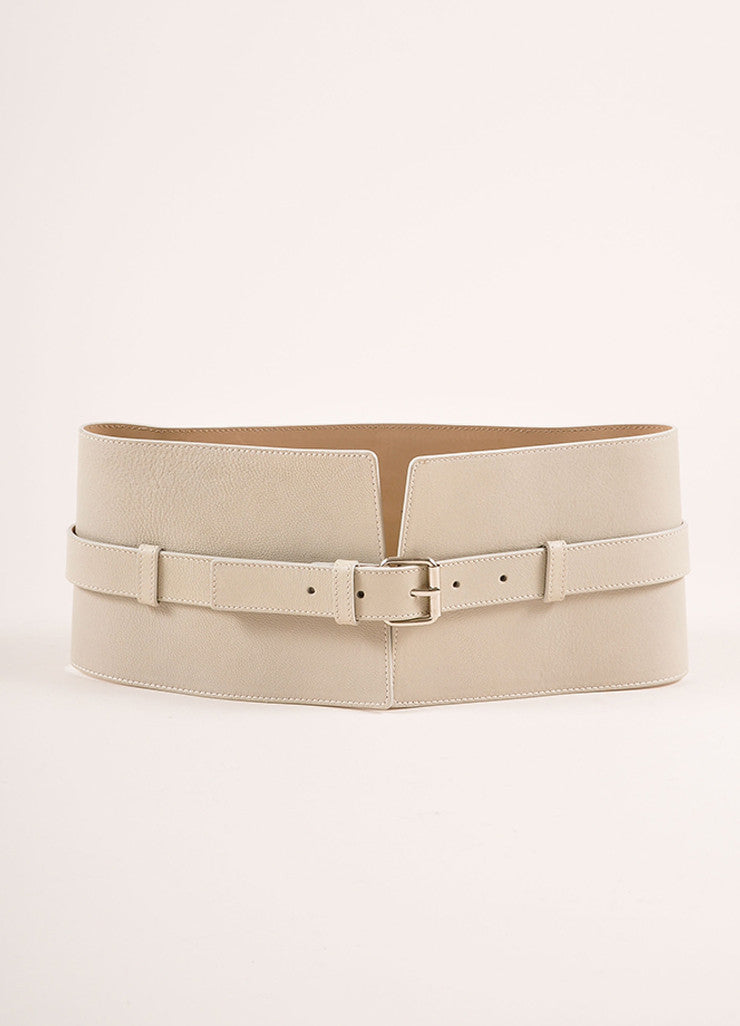 Jean Paul Gaultier Taupe and Grey Leather Wide Buckled Waist Belt Frontview