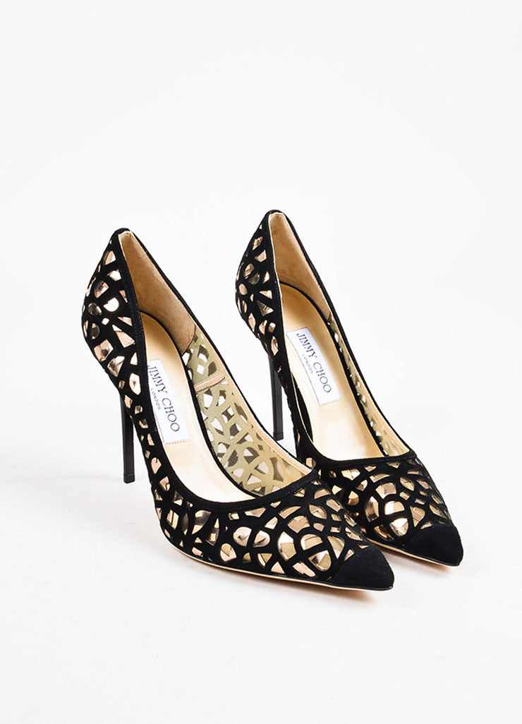 Jimmy Choo Black Suede Silver Metallic Laser Cut Pointy Toe High Heels Frontview