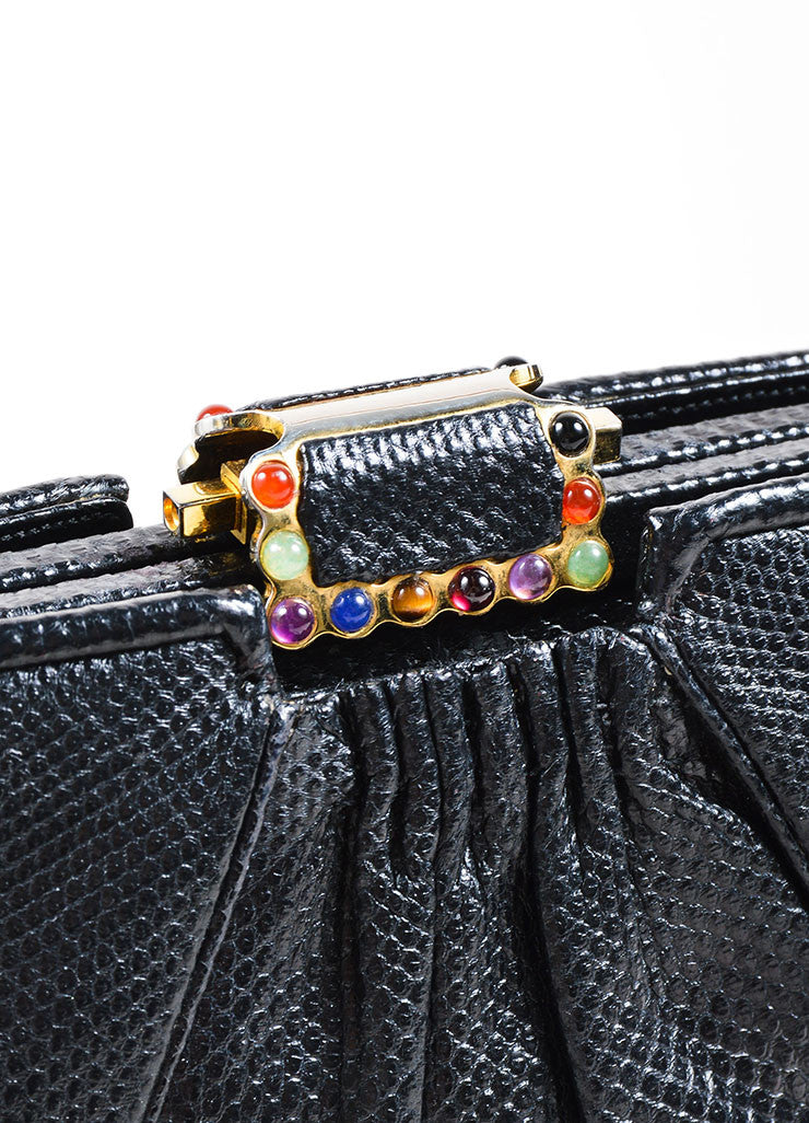 Judith Leiber Black Reptile Leather Glass Bead Embellished Evening Clutch Bag Detail 3