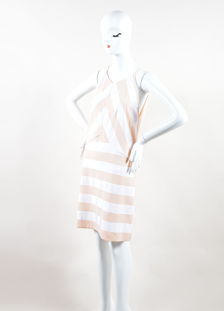 Peach, Nude and White Crepe Ribbon Striped Sleeveless Dress Side
