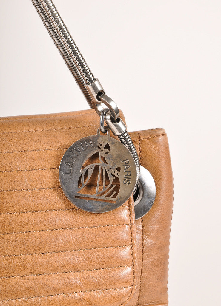 Lanvin Brown Leather Ribbed Flap Chain Shoulder Bag Detail 2