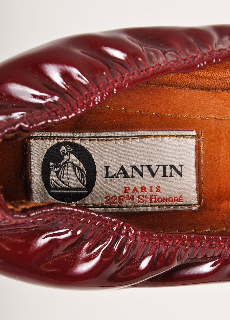Lanvin Deep Red Patent Leather Elastic Block Heels Brand