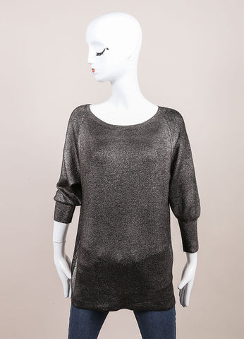 Leetha New With Tags Black and Silver Metallic Shimmer Sweater Frontview