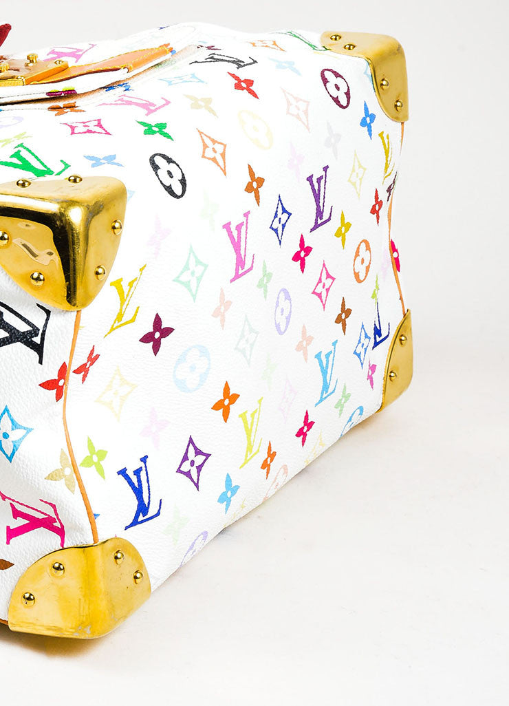 Louis Vuitton Monogram Multicolore Speedy 30 White Canvas and Leather Satchel Bottom View