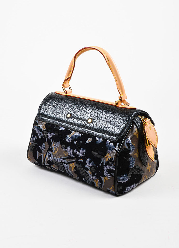 "Louis Vuitton Black Leather and Canvas Sequined ""Fleur De Jais Carrousel"" Bag Sideview"