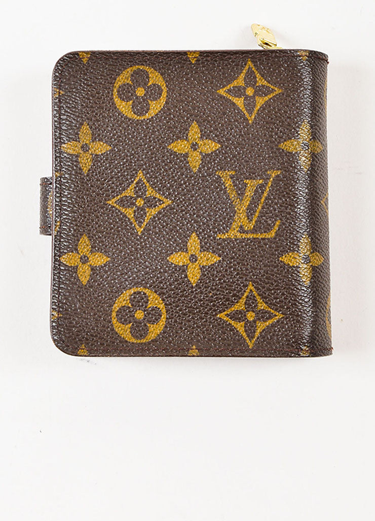 "Louis Vuitton Brown Tan Coated Canvas Monogram ""Compact Zip"" Wallet Back"