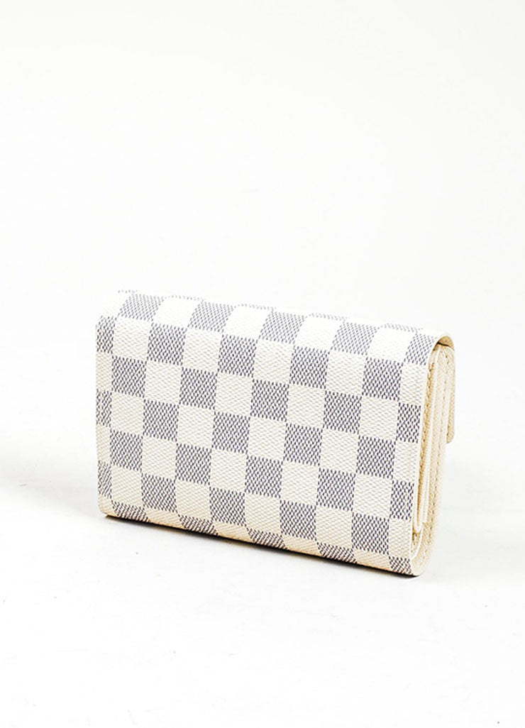 "Cream and Blue Louis Vuitton ""Damier Azur"" Coated Canvas ""Alexandra"" Wallet Backview"