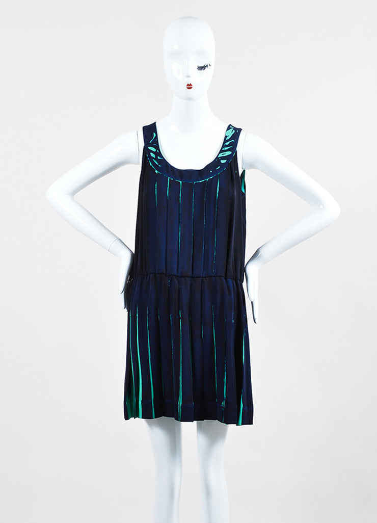 Navy and Teal Louis Vuitton Silk Printed Pleated Sleeveless Dress Frontview