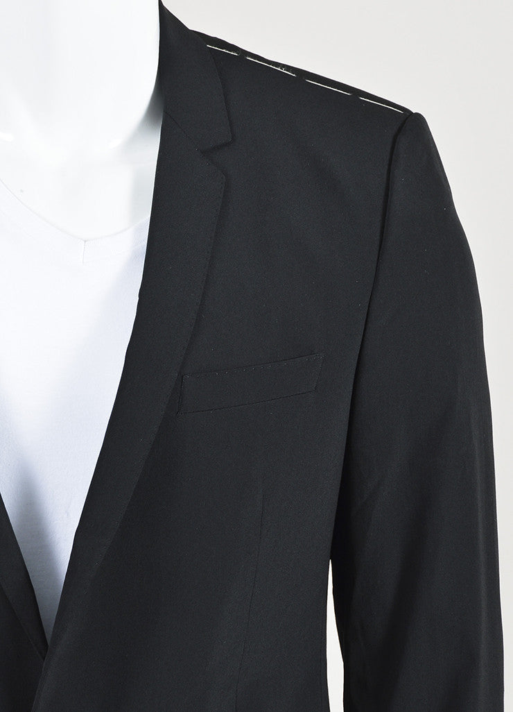 Men's Dolce & Gabbana Black Wool Slim Leg Suit Detail