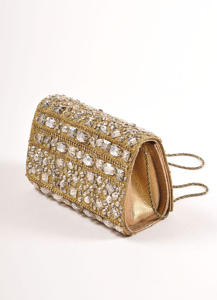 Marchesa Gold Metallic Leather Rhinestone Embellished Clutch Bag Sideview