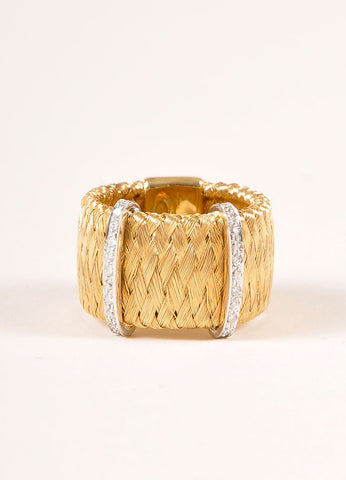 Marco Bicego 18KT Gold Braided Diamond Trim Ring Backview