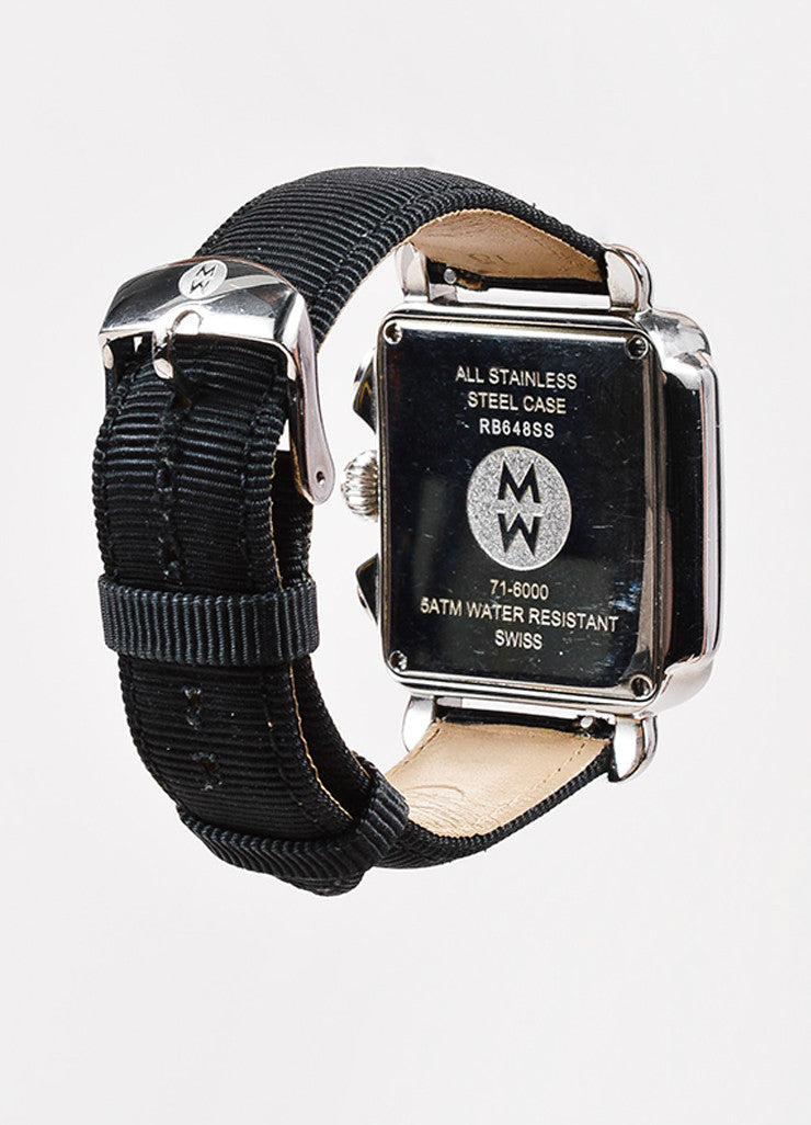 "Michele Silver Toned and Black Pave Diamond and Stainless Steel ""Deco"" Watch Backview"
