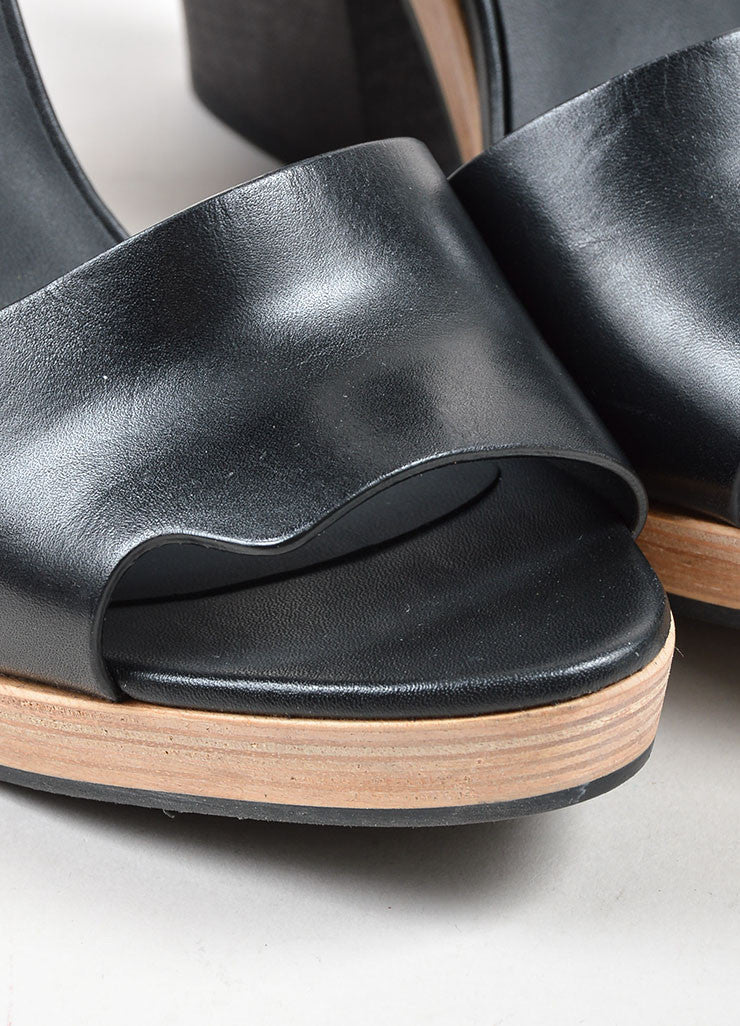 Black Pierre Hardy Leather Wooden Block Heel Sandals Detail