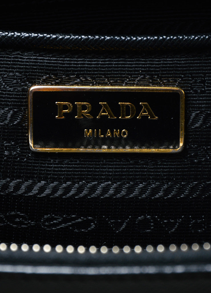 "Black Prada Saffiano Leather ""Lux"" Shoulder Tote Bag Brand"