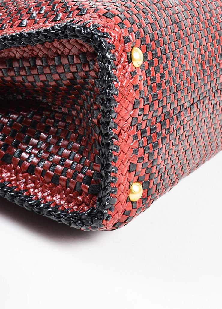 "Prada ""Rubino"" Red and Black Leather Woven Top Handle Cross Body ""Madras"" Satchel Bag Detail"