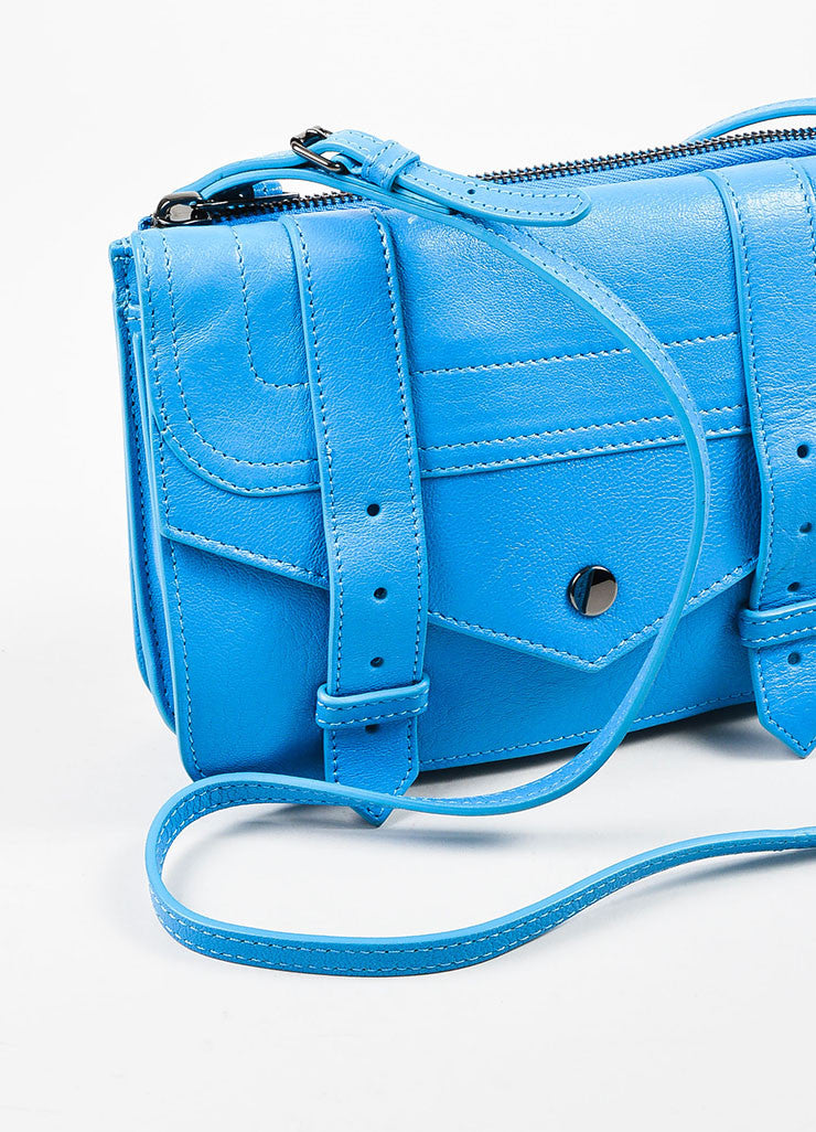 "Proenza Schouler Blue Leather ""PS1 Wallet Crossbody"" Bag Detail 2"