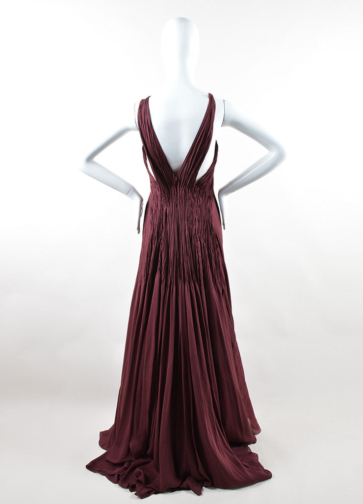 "Ralph Lauren Burgundy Silk Chiffon Draped Pleated ""Adelaide"" Gown Backview"