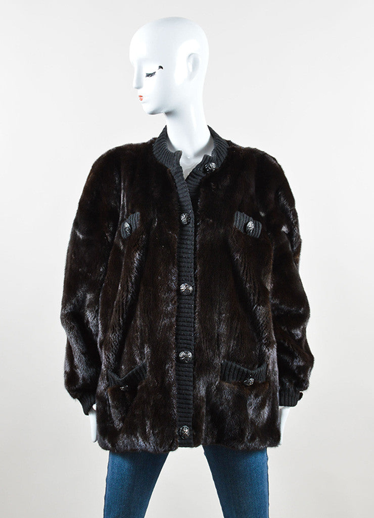 Revillon Dark Brown and Black Fur and Knit Button Down Long Sleeve Oversized Coat Front