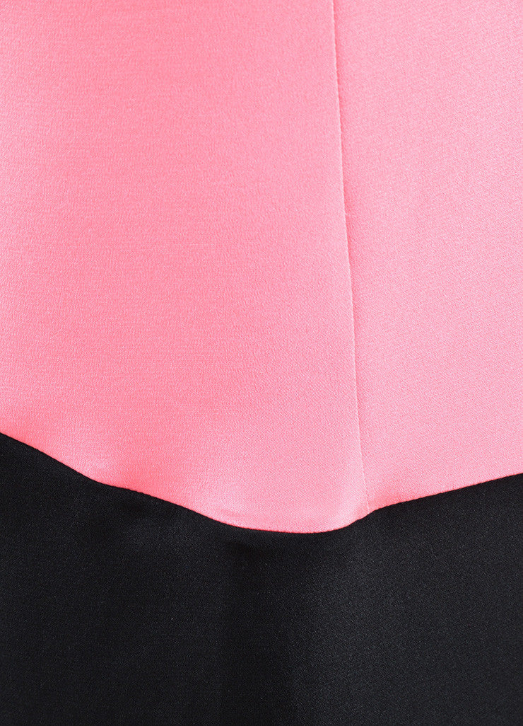 Roksanda Neon Pink and Black Silk Contrast Sleeveless Tent Dress Detail