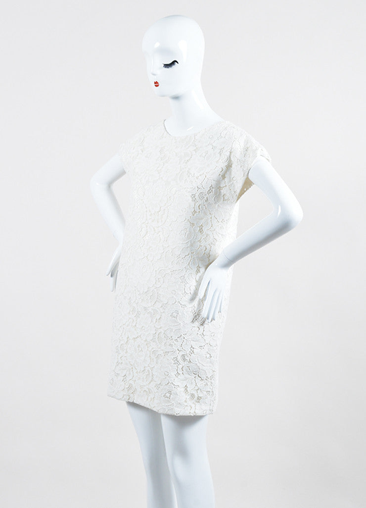 White Saint Laurent Cotton Guipure Lace Cap Sleeve Shift Dress Sideview