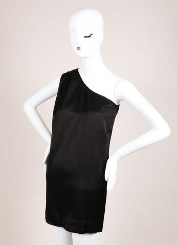 Stella McCartney Black Satin Pleated One Shoulder Tunic Dress Sideview