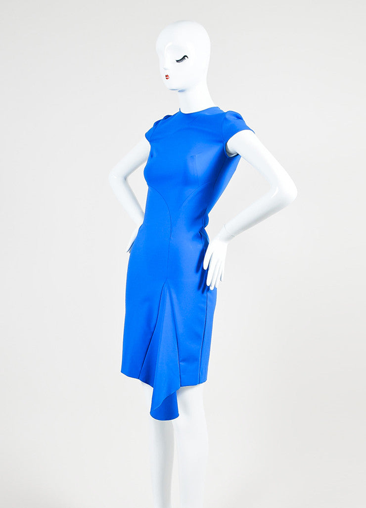 Blue Stella McCartney Stretch Asymmetric Cap Sleeve Dress Sideview