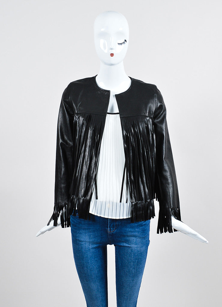"The Perfext Black Leather Fringe ""April"" Jacket Frontview"