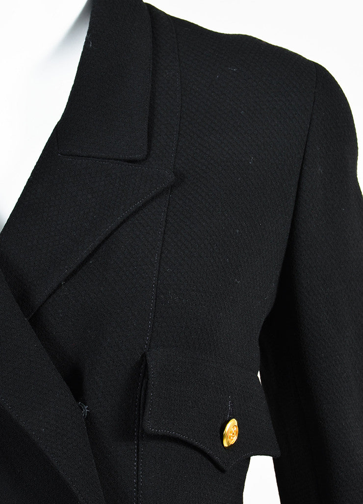 Chanel Black Wool Gold Toned 'CC' Logo Button Jacket Detail