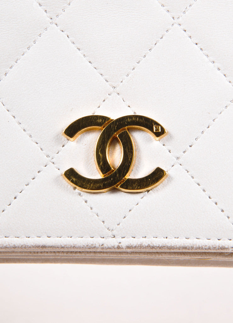 "Chanel Cream Leather Quilted ""CC"" Chain Strap Shoulder Bag Brand"